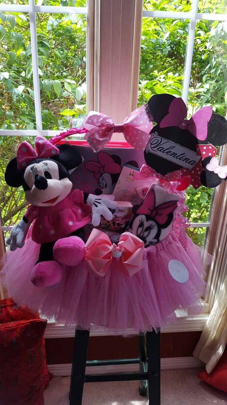 Minnie Mouse 1st Birthday Gift Basket Special Order Made By Normas Unique Baskets60