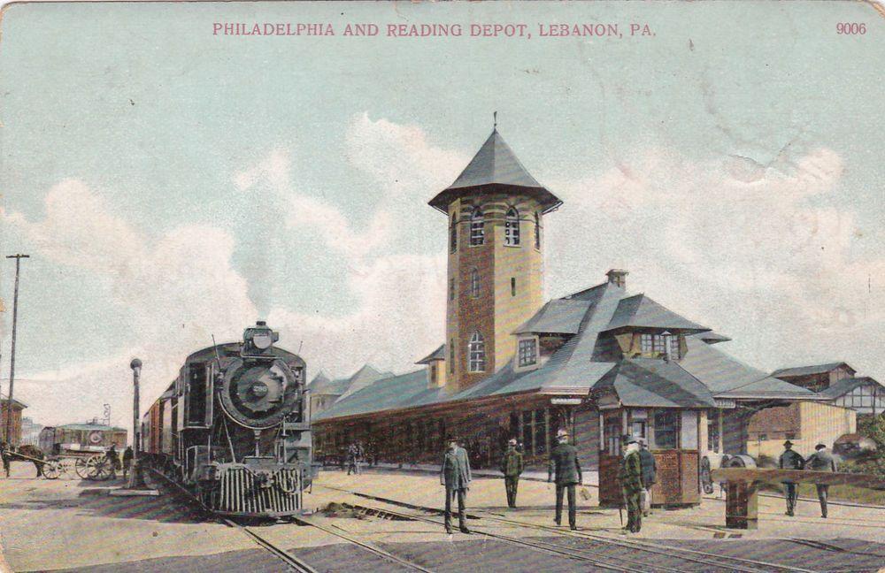 Lebanon pennsylvania pu1909 train at railroad depot