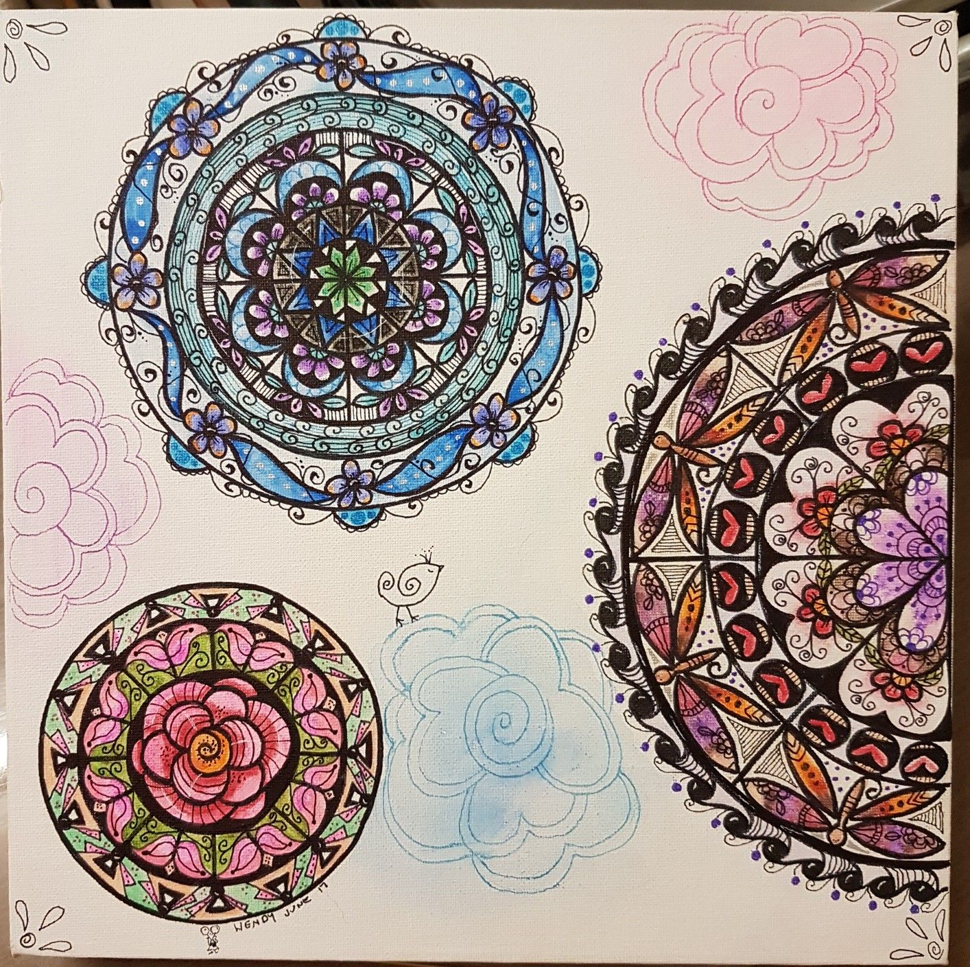 3 Mandala On Canvas Using Ink And Watercolour Pencils July 2017