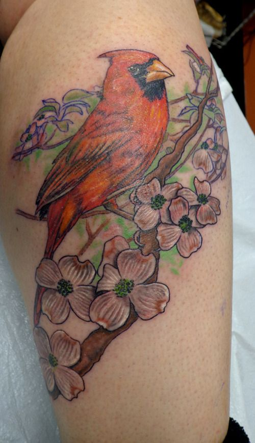 Cardinal Tattoo | Cardinal and Dogwood Blossoms – Tattoo ...