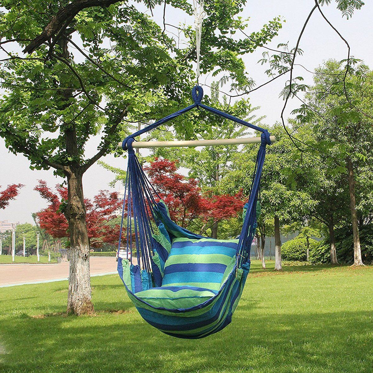 Sorbus Hanging Rope Hammock Chair Swing Seat For Any Indoor Or Outdoor Spaces Max 265 Lbs 2 Seat Cushions Included Hammock Swing Chair Hanging Hammock Chair Rope Hammock Chair