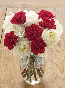 white roses with red carnations possible bridesmaid bouquet