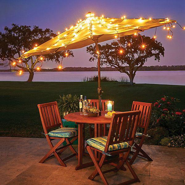 Improvements Shooting Star Umbrella Light Set 26 Liked On Polyvore Patio Umbrella Lights Patio Outdoor