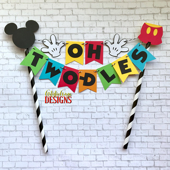 Mickey Mouse Clubhaus Geburtstagstorte Bunting Topper – Oh Two-dles Cake – Mickey Mouse Party – Rot Gelb Orange Blau Grün Schwarz Weiß   – Mickey Mouse
