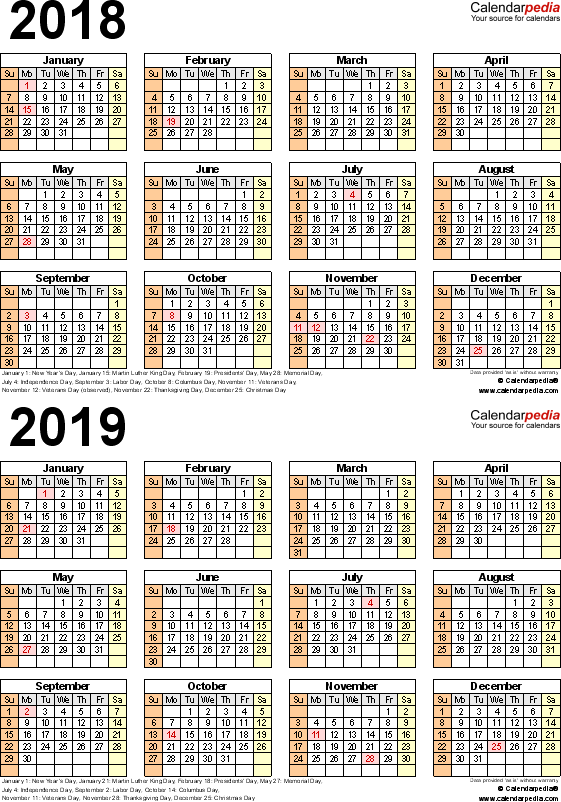 Template 5 Word Template For Two Year Calendar 2018 2019