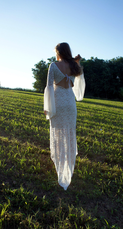 Long sleeve wedding dress a line wedding dress boho wedding dress