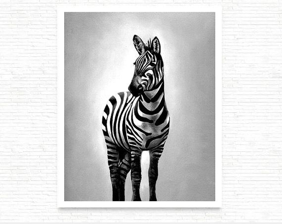 Zebra glossy print in black and white, 8x10 giclee african animal, hahnemühle paper, contemporary decor, chic gift idea, modern house by SilviaVeri  #italiasmartteam #etsy