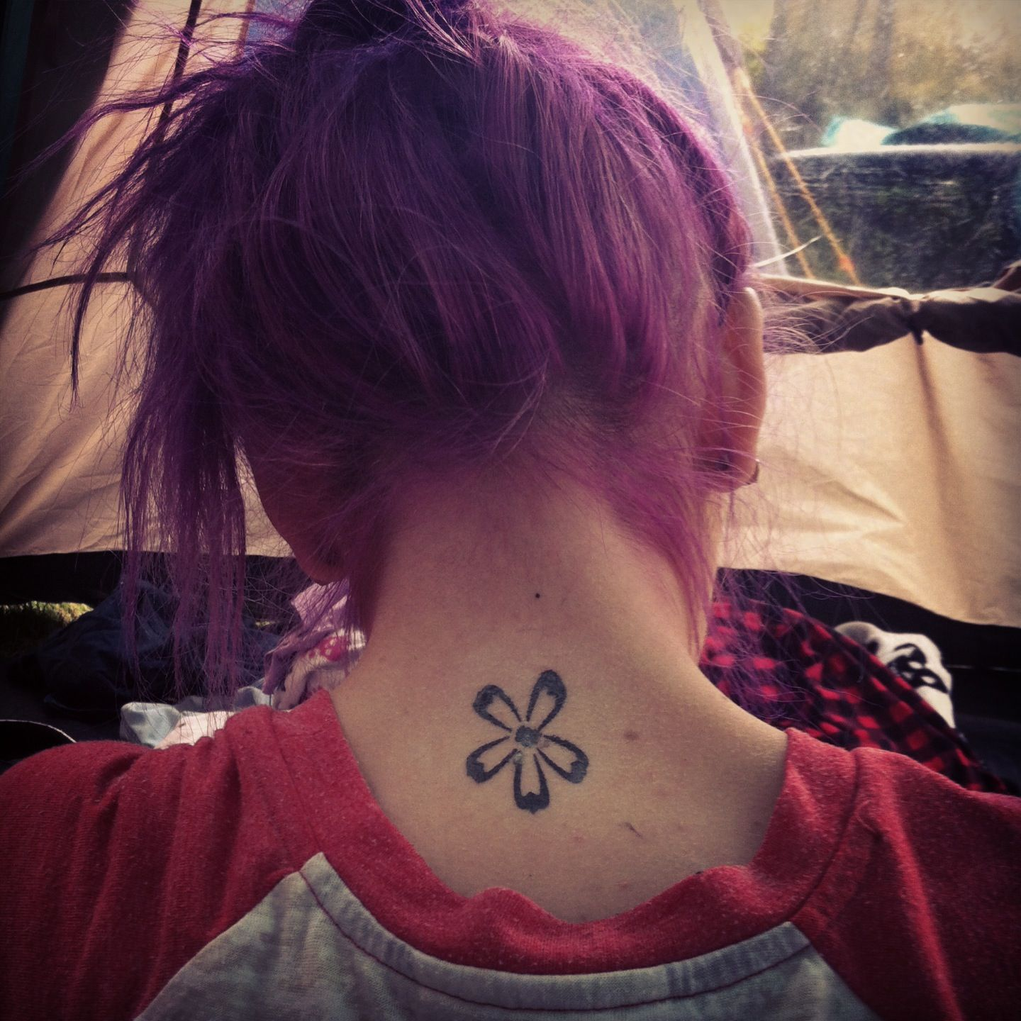 Cute girly tattoo flower tattoo small tattoo hipster purple hair