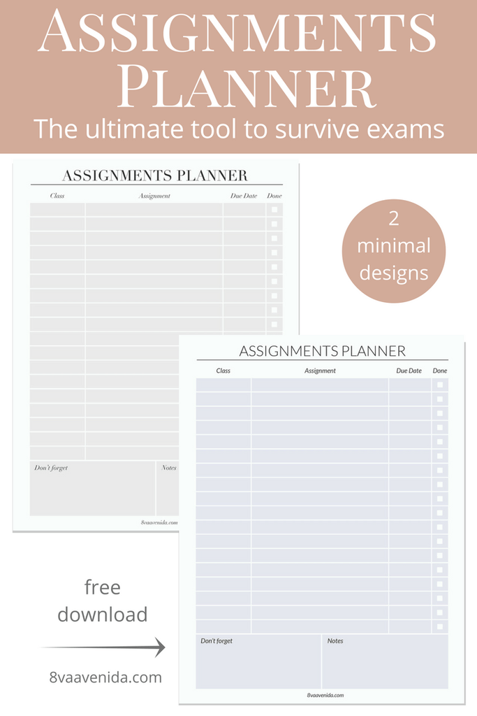 Assignments planner: The ultimate tool to survive exams - 8va Avenida