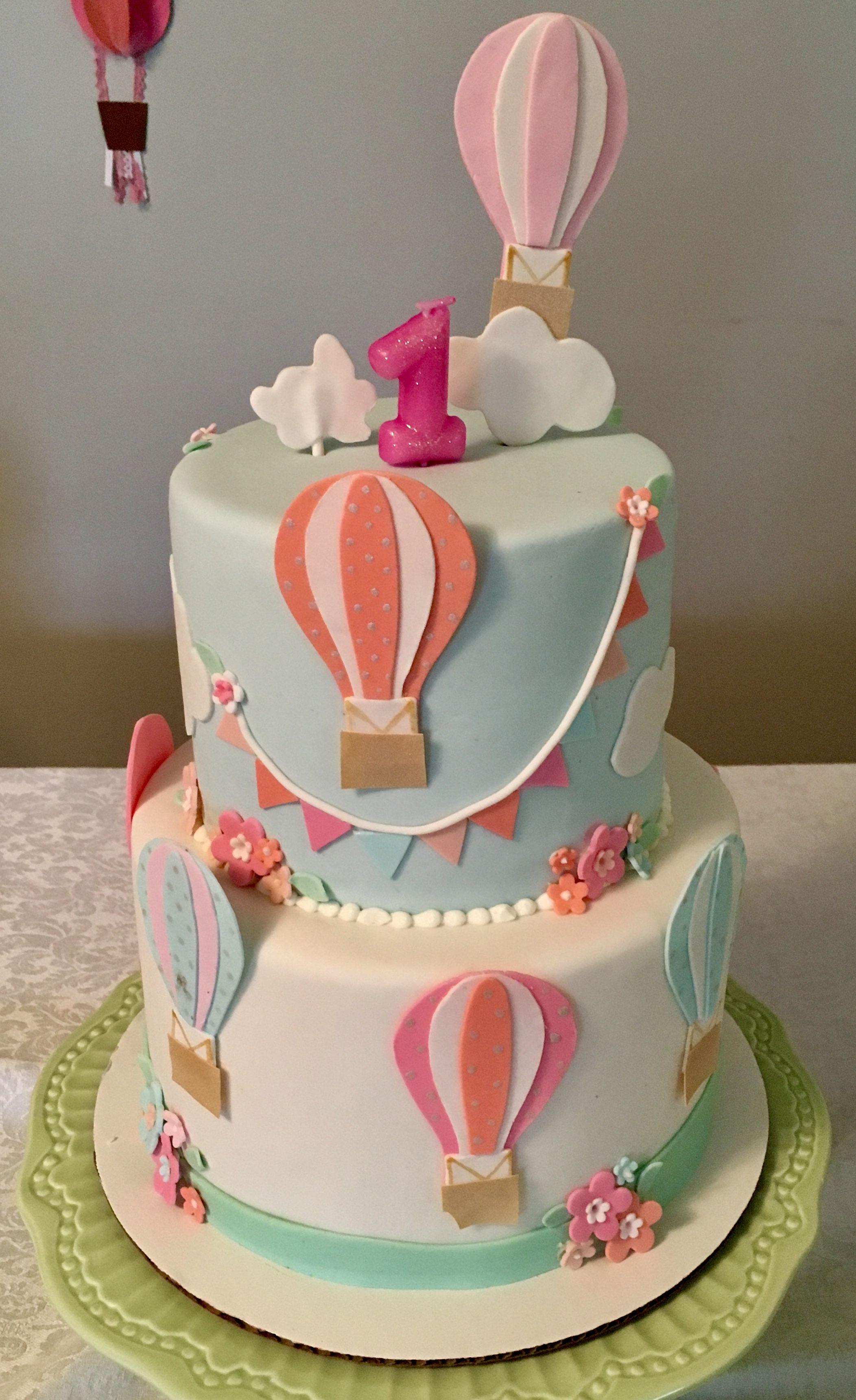 Tremendous 1St Birthday Hot Air Balloon Cake With Images Hot Air Balloon Funny Birthday Cards Online Necthendildamsfinfo