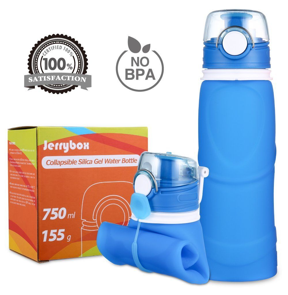 Jerrybox Collapsible Water Bottle 750ml Silica Gel Medical Grade Bpa Free Fda Approved Leak Proof Silicone Water Bottle Collapsible Water Bottle Bottle