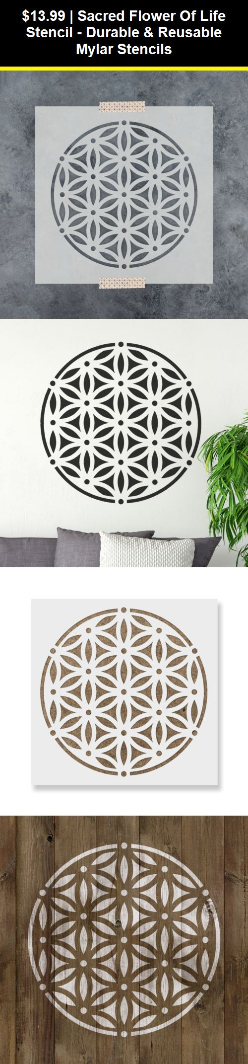 Durable /& Reusable Mylar Stencils Sacred Flower of Life Stencil
