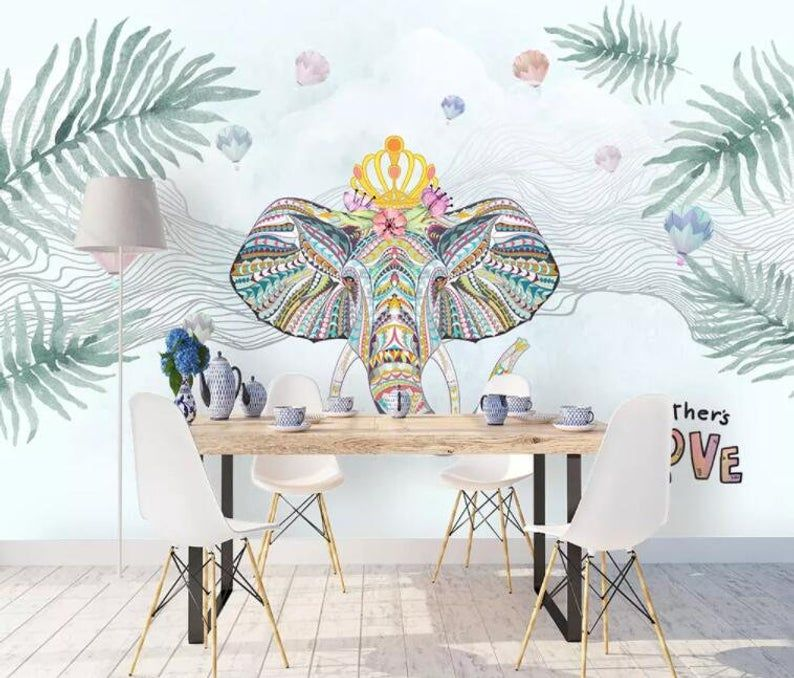 3d Tropical Plant National Style Elephant Wallpaper Etsy Elephant Wallpaper Self Adhesive Wallpaper Removable Wallpaper