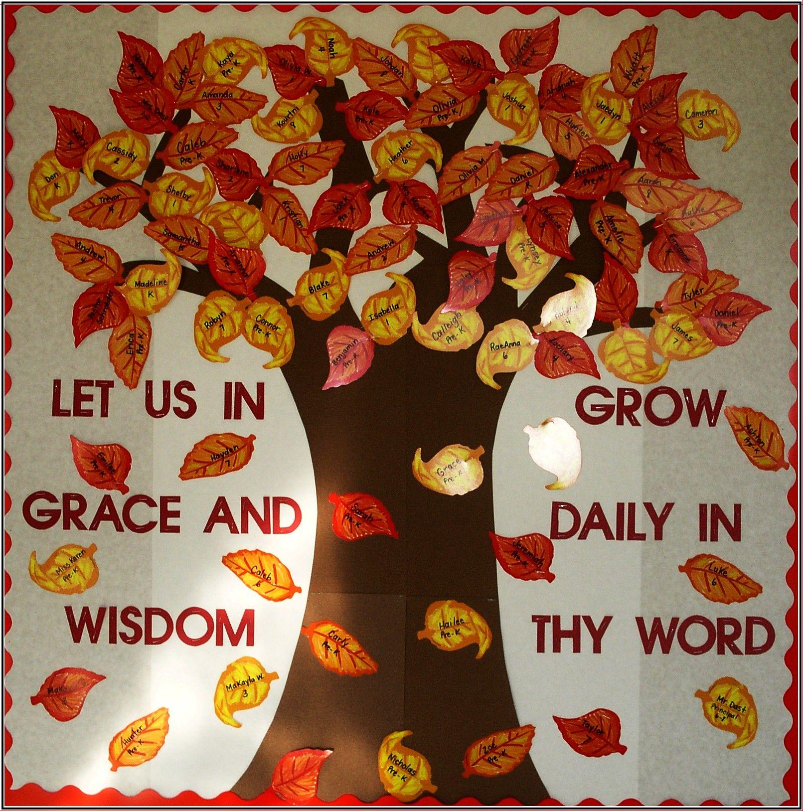 Fall tree bulletin boards church pinterest for Fall bulletin board ideas