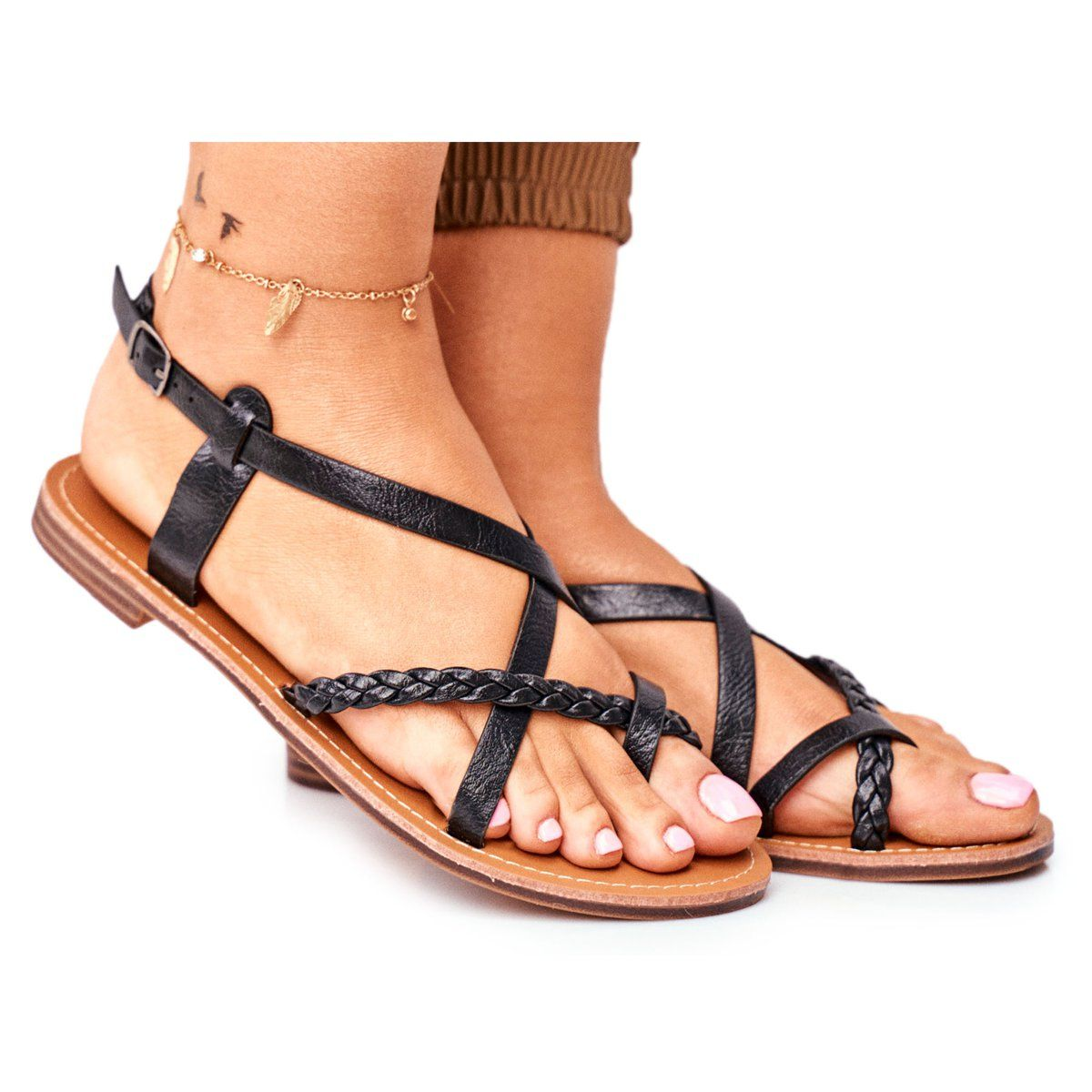 Ady Damskie Plaskie Sandalki Rzemyk Czarny Laurence Czarne Shoes Sandals Fashion