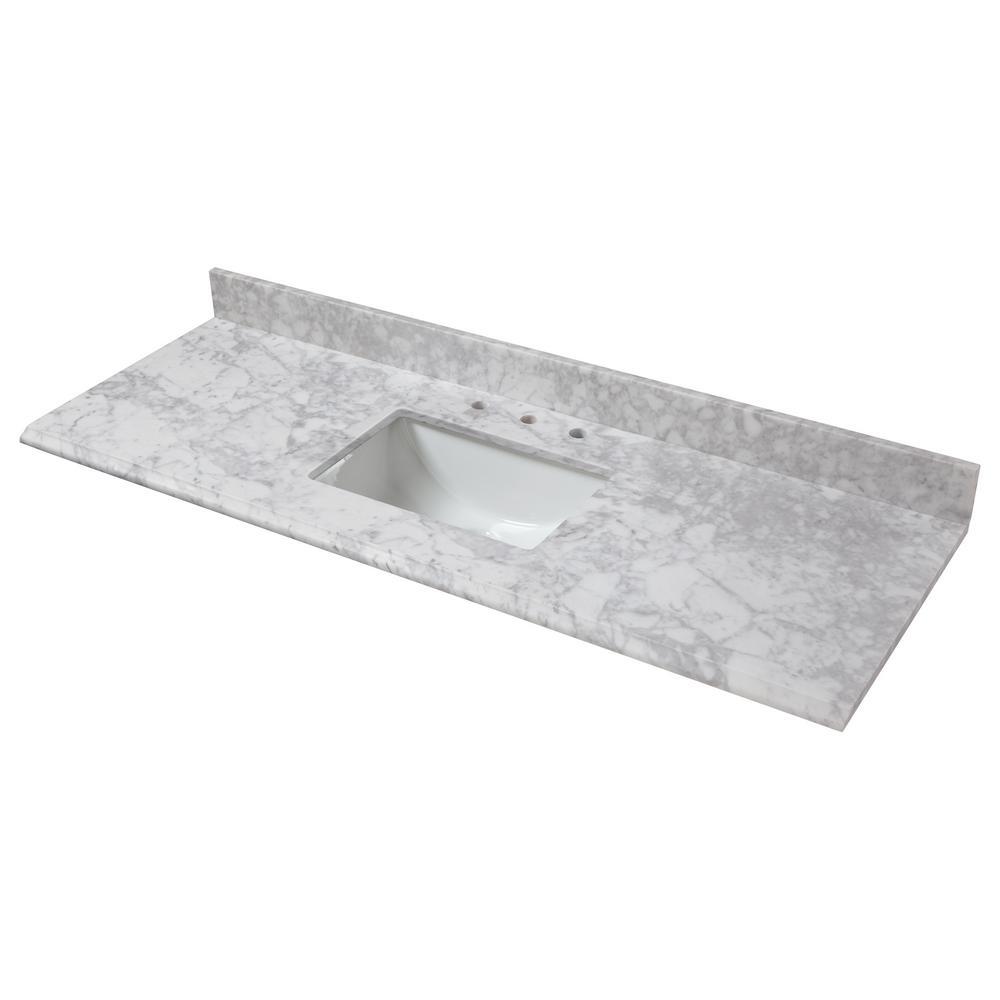 Stufurhome 48 In Ariane Single Sink Vanity In White With Marble Vanity Top In Carrara Wi Single Bathroom Vanity Single Sink Bathroom Vanity Marble Vanity Tops