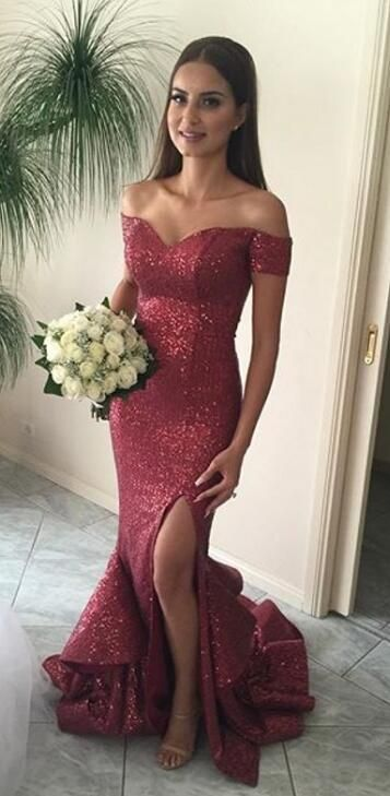 5be0e4a0 2018 mermaid long prom dress with slit, sparkly red sequins prom dress, off  the shoulder mermaid long prom dress evening dress