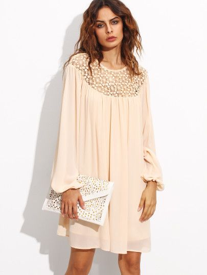 Apricot Hollow Out Crochet Neck Lantern Sleeve Dress -SheIn(Sheinside) Mobile Site
