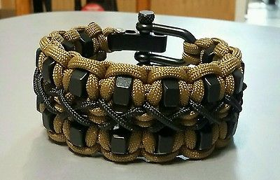 Custom Double Hex Nut Paracord Bracelet With Black Adjustable