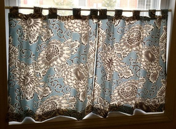 Blue Cotton Cafe Curtains/ Kitchen Curtains/Bathroom Curtains For Windows  Between 20 Inches To