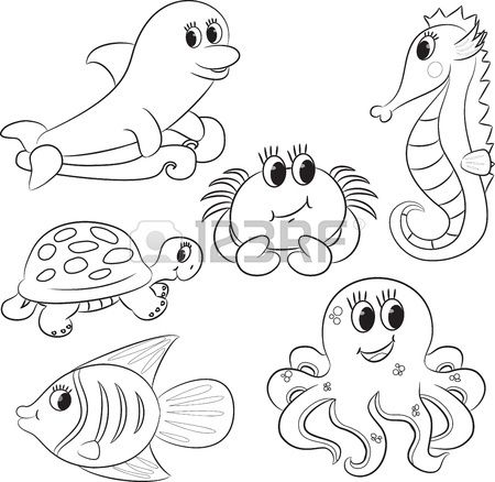 Set of outlined cartoon sea animals illustration | Octopus ...