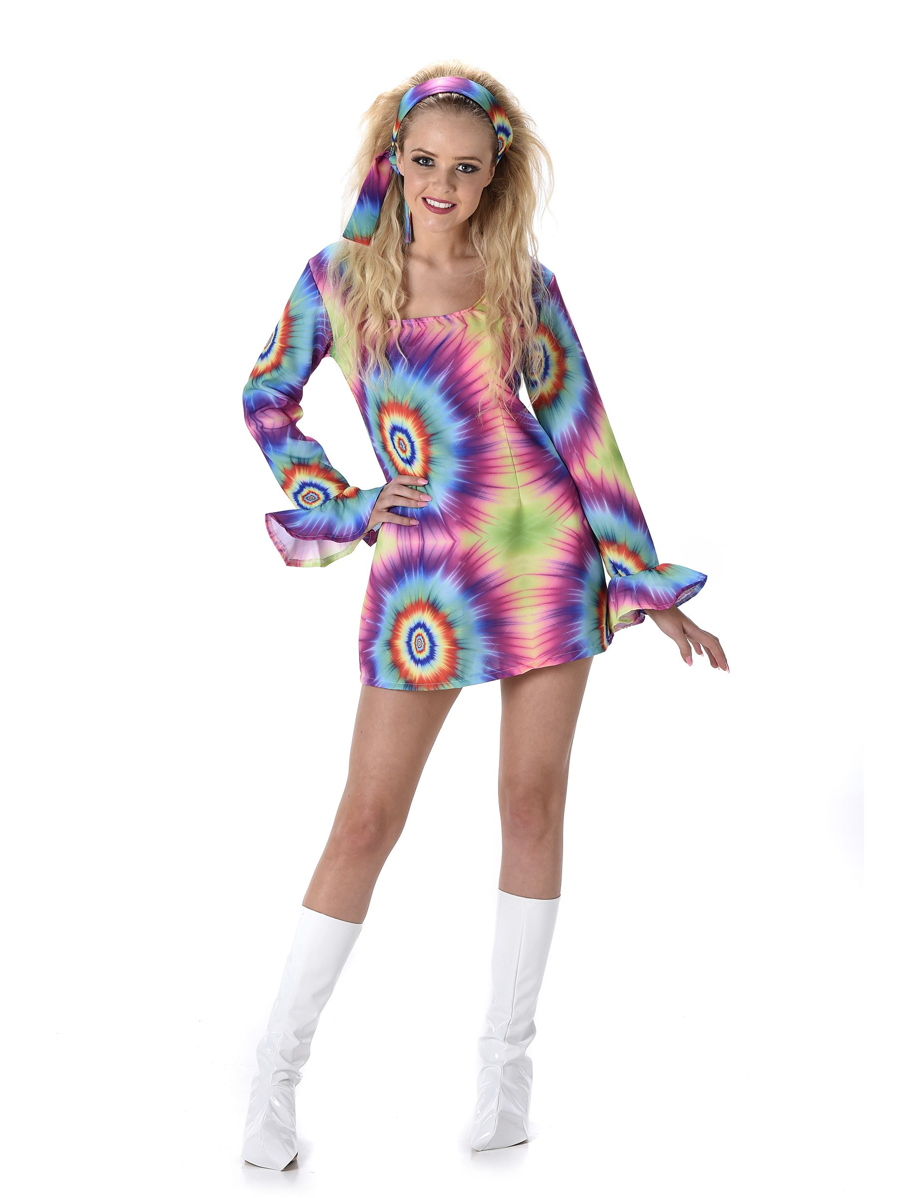 Buntes Psychedelisches Hippie Kostum Fur Damen In 70er Jahre Look