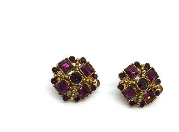 Vintage Faux Amethyst Gold tone Earrings Clip backs by Aquiris