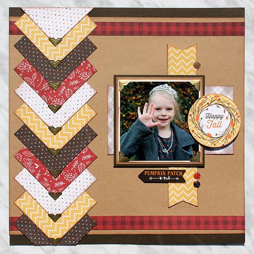Happy Fall Scrapbook Page with Creative Photo Corn