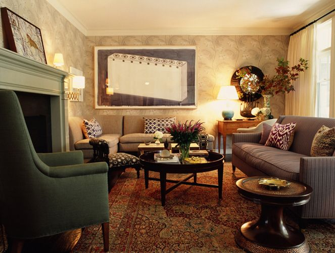 Madeline Weinrib Blue Daphne and Aubergine Luce Ikat Pillows, room design by Kristen Panitch Interiors