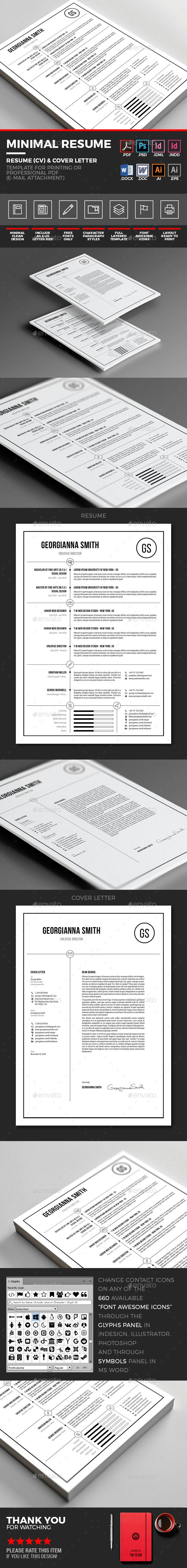 """Minimal Resume - Simple And Clean Resume (Ð¡v) Template By Y-N Minimal  Resume(Cv) €"""" Minimal Clean Resume(Cv) And Cover Letter Template With  Customizable"""