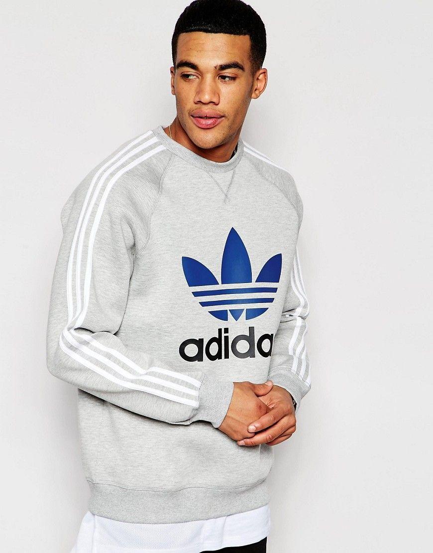 Adidas Originals Trefoil Sweatshirt In Scuba Aj6988 Grey Adidas Originals Sweatere Til Herrer Modedagen Cool Jackets For Men Sweatshirts Sweatshirts Hoodie [ 1110 x 870 Pixel ]