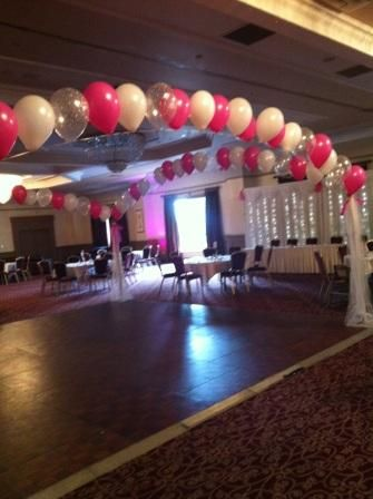 Pink And White Dance Floor Balloon Arches Balloon Arch Balloon