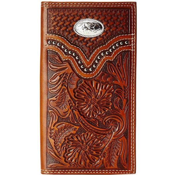 Genuine Leather Men/'s Western Wallet Vintage Floral Tooling Cowboy Long Wallet