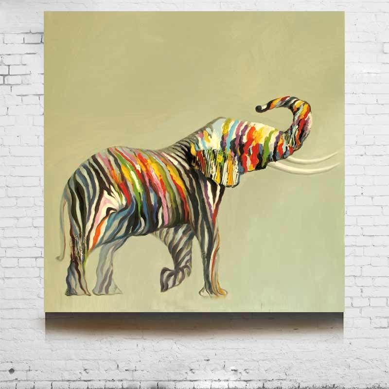comprar animal pintura al leo abstracta fuerte elefantes pintado a mano