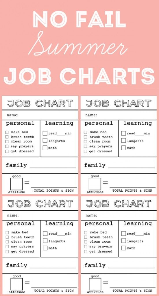 15 Easy Chore Charts Job Chart Summer Jobs Chores For Kids