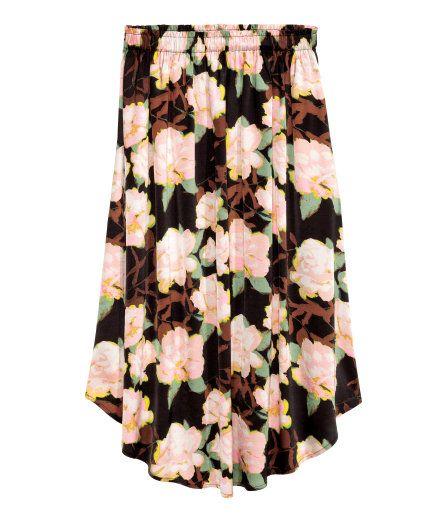 Patterned Skirt in Black floral :: H&M