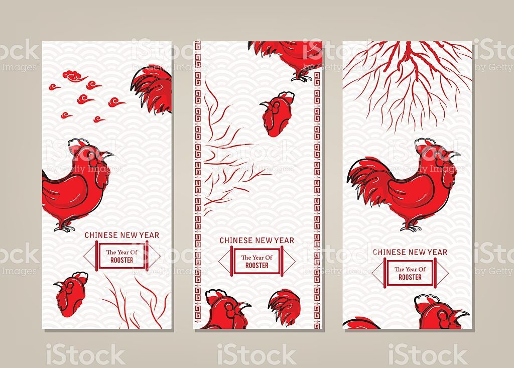 Vertical Banners Set with Hand Drawn Chinese New year
