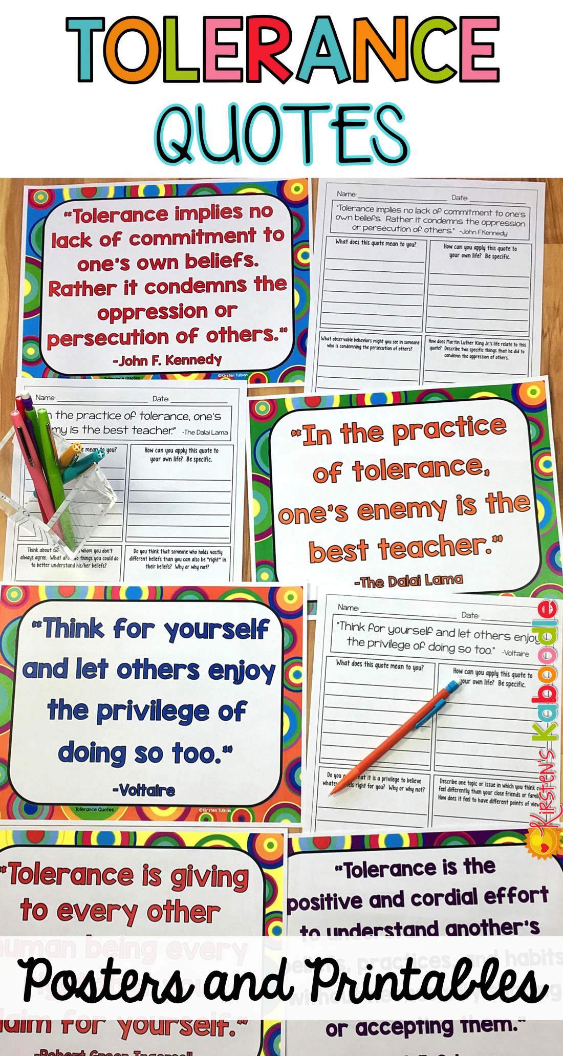 Tolerance Quotes Posters and Printables | Bulletin board ...