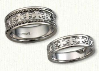 fleur de lis german cross band regular etch shown in 14kt russian wedding ring - German Wedding Rings