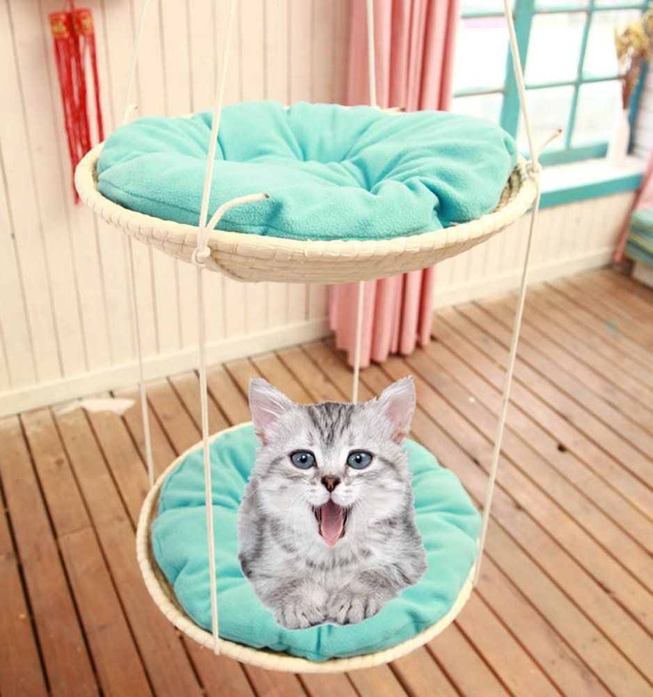 Chickle Hand Made Woven Cat House Bed Hanging Hammock Pet