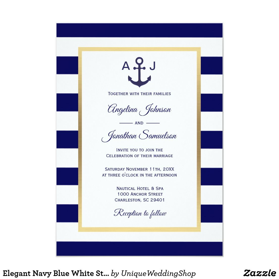 Elegant Nautical Wedding Invitations: Elegant Navy Blue White Stripes Nautical Wedding