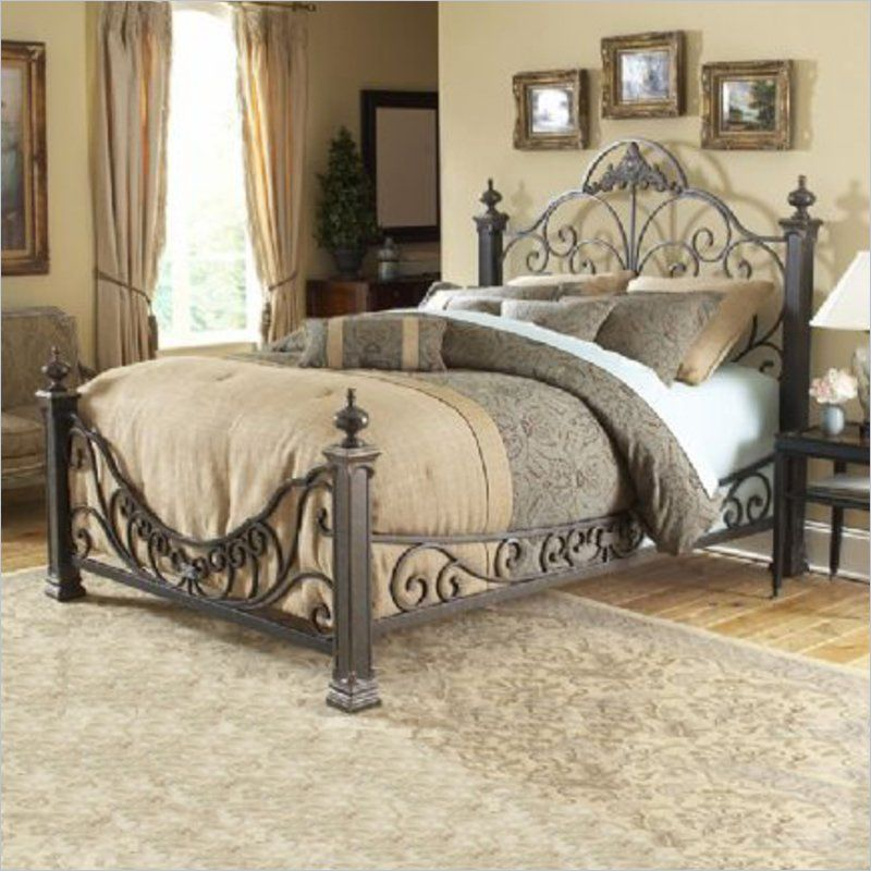 Fashion Bed Baroque Metal Poster Bed in Gilded Slate - B1189X ...