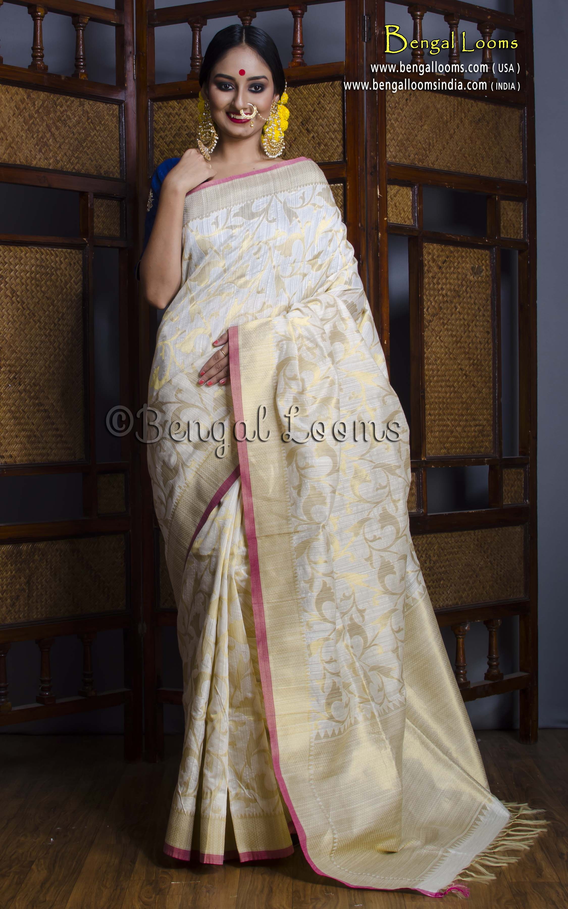 7ca9a908d Silk Cotton Banarasi Saree in Off White and Muted Gold | Indian ...
