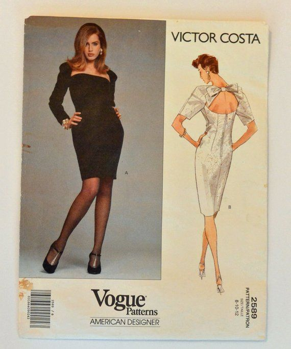 17f870ed05 90s Vogue Pattern   Womens Sewing Patterns Victor Costa Vogue 2589 Cocktail Dress  Pattern Backless D