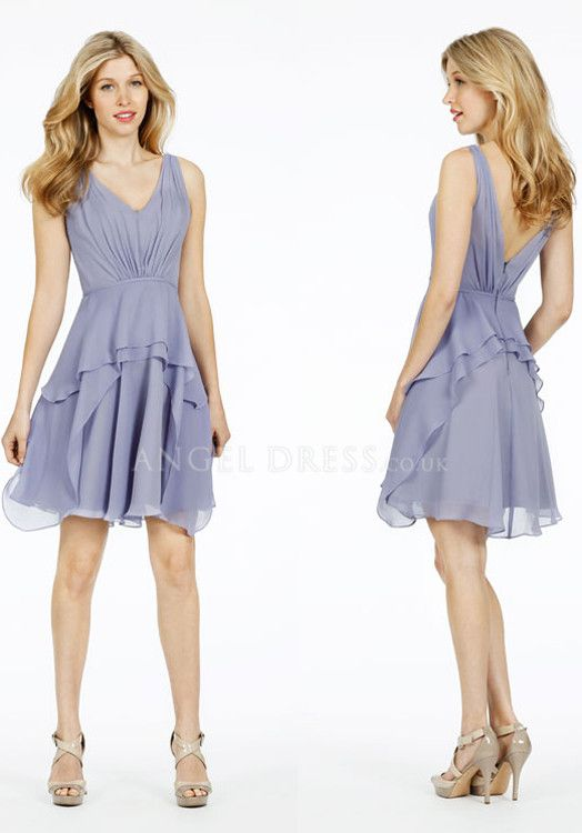 fd97193dd973 V Neck A line Above Knee Sleeveless Chiffon Bridesmaid Dress With Ruching