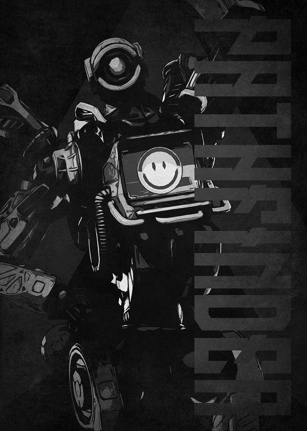 "Apex Legends Black & White Characters Pathfinder #Displate explore Pinterest""> #Displate artwork by artist… | Displate thumbnail"
