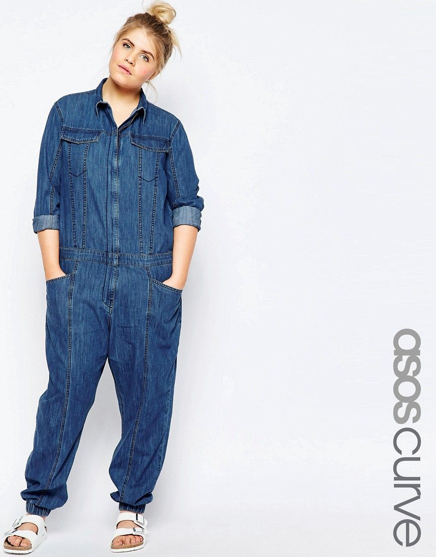 93bbc6a8723f5 Image 1 of ASOS CURVE Denim Boilersuit with Zip Front