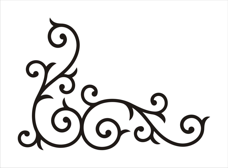 Stencil corner border floral scroll design no flourish