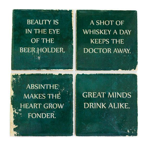 Wise Sayings Coaster Set Drinking Quotes Funny Coasters Alcohol Facts