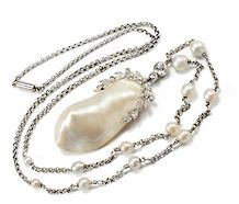 Classic Edwardian Pearl Diamond Pendant Necklace